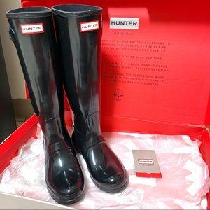 NEW Hunter Original Tall Black Gloss Rain Boots